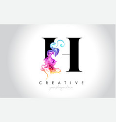 h vibrant creative leter logo design with vector image