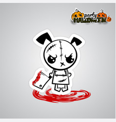 Halloween evil dog puppy voodoo doll pop art vector
