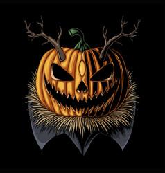 halloween pumpkin horned vector image