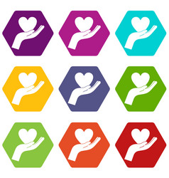hand holding heart icon set color hexahedron vector image