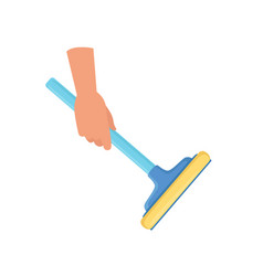hand holding window cleaning tool housework vector image