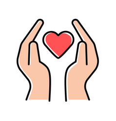 Hands with heart color icon volunteering activity vector