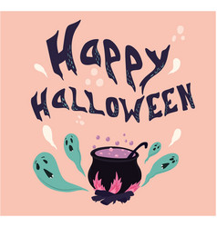 Happy halloween text banner with ghost vector