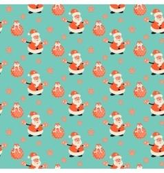 Happy Santa Claus green mint festive pattern vector image