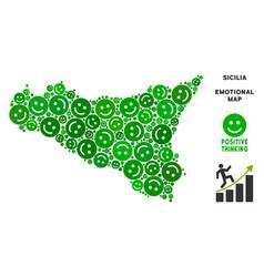 Happy sicilia map collage of smileys vector