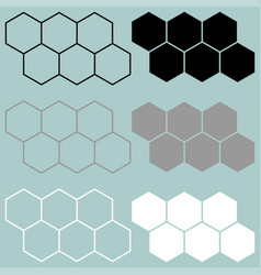 Hexagon black grey white icon vector