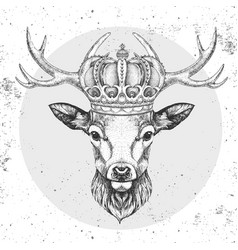 Hipster animal deer in crown hand drawing muzzle vector