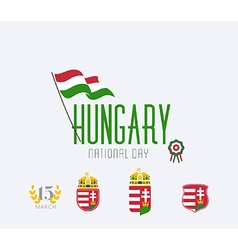 Hungary National Day Icon Set vector image
