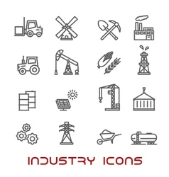 Industry and ecology thin line icons vector