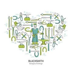 Linear icons Blacksmith vector