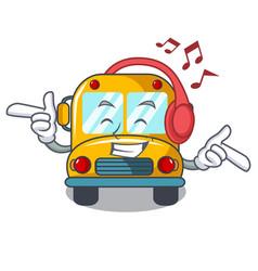 listening music school bus mascot cartoon vector image