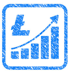 litecoin growth trend framed stamp vector image
