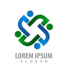 logo concept design rotate people symbol graphic vector image