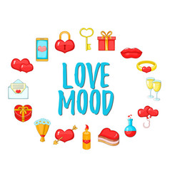 love mood concept icons set cartoon style vector image