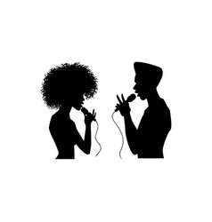 man woman singing silhouette set vector image