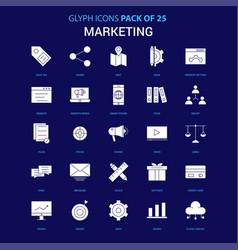 marketing white icon over blue background 25 icon vector image