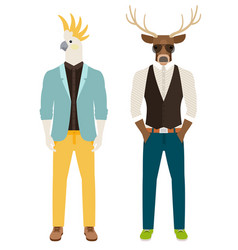 men with parrot and deer heads vector image