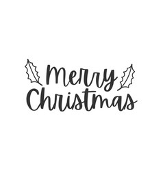 merry christmas black hand written lettering vector image