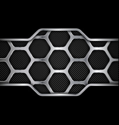 metal background geometric pattern hexagons vector image