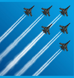 Military fighter jets with condensation trails in vector