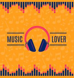Music lover headphones on vector