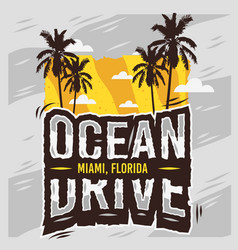 ocean drive miami beach florida summer design with vector image