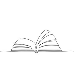 One line book outline library books art sketches vector