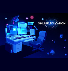 Online education banner cartoon vector