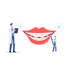 Orthodontist treatment brackets installation vector