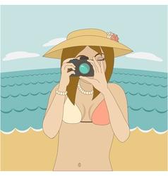 Photographer girl clicking on cameras button vector