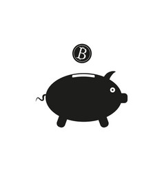 piggy bank sign black icon vector image