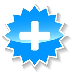 Plus blue icon vector