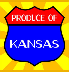 Produce of kansas shield vector