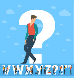Question mark white letter with young people vector