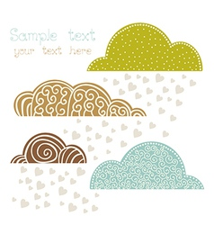 Rain of heart with clouds autumn background vector