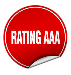 Rating aaa round red sticker isolated on white vector