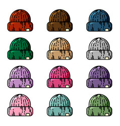 red knitted hipster cap set vector image