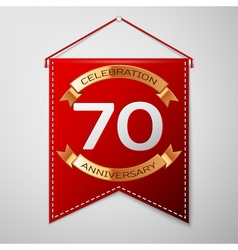 Red pennant with inscription Seventy Years vector