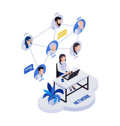 Remote networking isometric composition vector