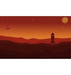 Rocket on desert outer space landscape vector