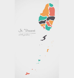 saint vincent and the grenadines map with states vector image