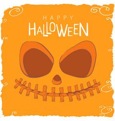 scary pumpkin face for halloween vector image vector image