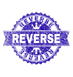 Scratched textured reverse stamp seal with ribbon vector