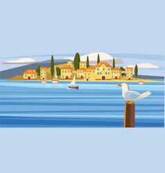 sea mediterranean city coast boat sailboat vector image