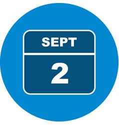 September 2nd date on a single day calendar vector