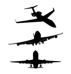 set black silhouette three airplanes vector image