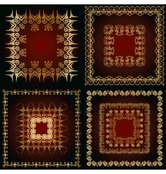 set of a abstract patterns with floral ornaments vector image