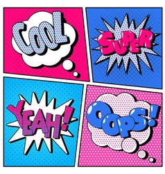 Set of Comic Bubbles in Pop Art Style vector