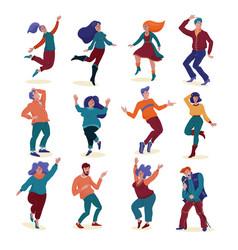 set various happy dancing people men and women vector image