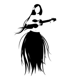 silhouette of hawaiian girl wearing skirt of vector image
